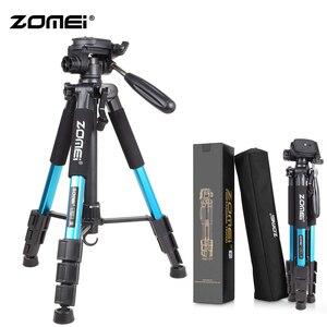 Image 1 - Zomei bleu Q111 trépied léger professionnel Portable support dappareil photo de voyage avec tête panoramique sac de transport pour appareil photo numérique reflex numérique