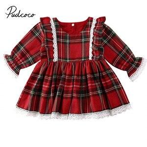 Christmas kids Baby Girl Princess Dress Elegant Formal Party Pageant Cute sequin Dress Xmas Infant Bowknot check Vestidos