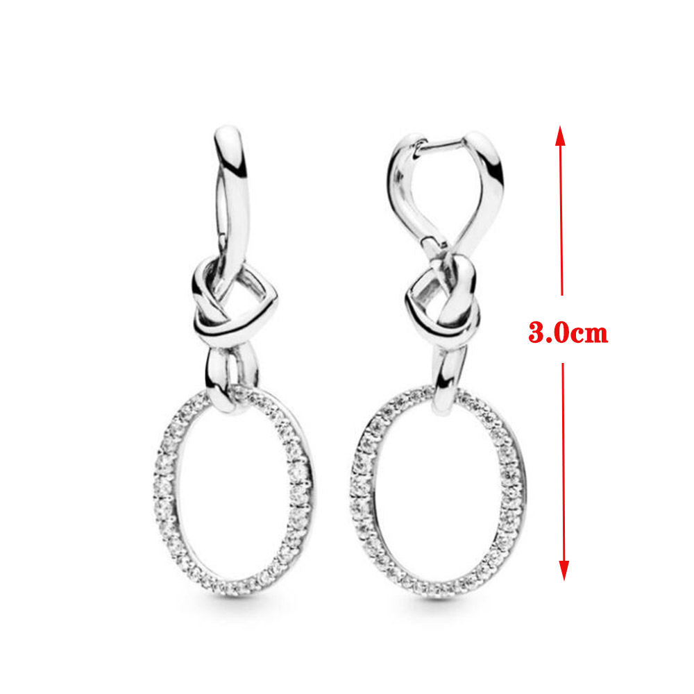 Image 5 - Original PAN 925 Sterling Silver Drop Earrings Love Knotted Heart Woman CZ Earring Charm DIY Jewelry Valentine's Day Gift-in Drop Earrings from Jewelry & Accessories