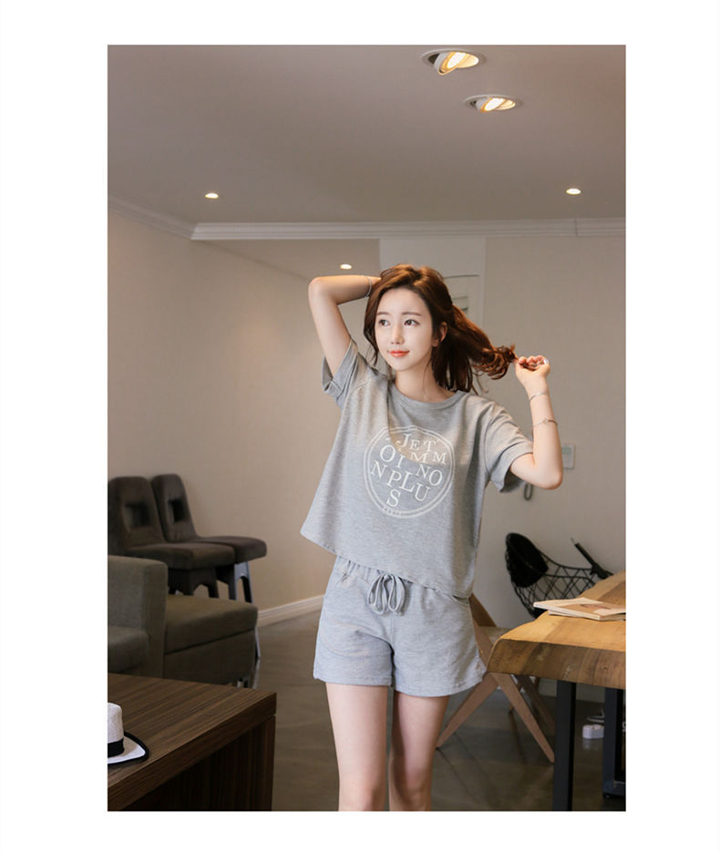 New Style Summer Women's Cotton Pajamas Short Sleeve Shorts Korean-style Casual Summer-Outer Wear Set Tracksuit Thin