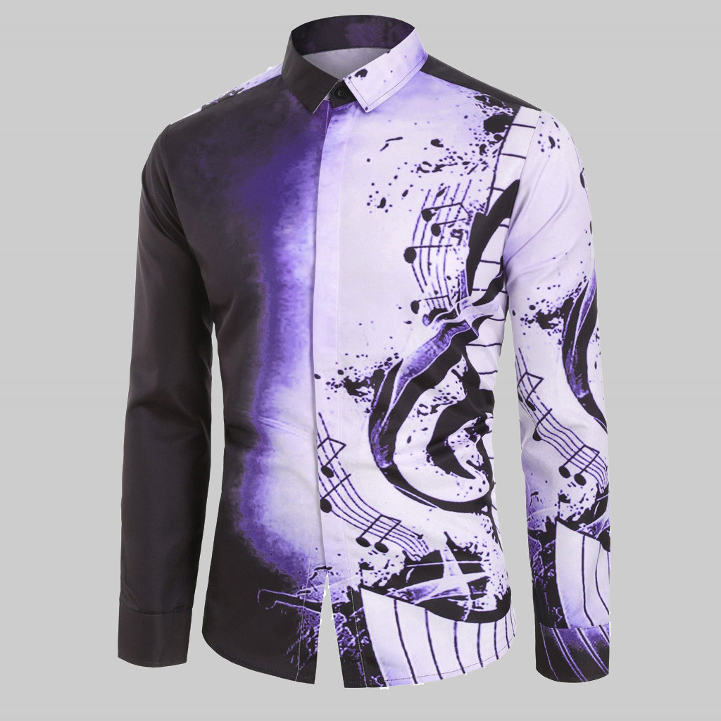 Casual Plus Size Men's Shirts Musical Note Pattern Clothing Streetwear 2020 Autumn Spring Shirt Long Sleeves Blouse Tops