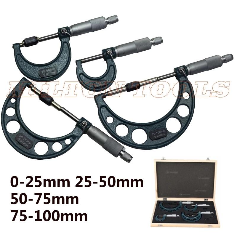 0-100 мм 4 шт внешний микрометр 0-25 мм/25-50 мм/50-75 мм/75-100 мм метрический верньерный Калибр толщина измерительные инструменты
