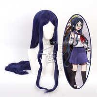 Danganronpa: gatillo feliz Havoc Shirogane Tsumugi Peluca de Cosplay de Color azul oscuro, juego de rol, coletas 100cm