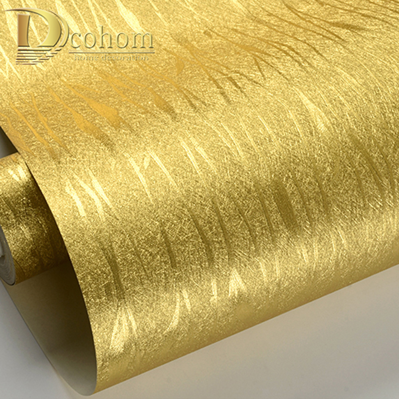 Waterproof Luxury Striped Wallpaper Home Decor Modern Wall Coverings 10M Roll Damask Metallic Glitter Gold Foil Wall Paper
