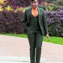 Темно зеленые женские костюмы 2020 деловые классические из 3