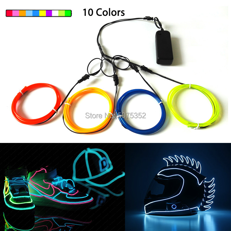 Hot Selling Dance Events Decor 3.2mm EL Wire DIY Glow Rope Tube Cable Party Costume Decor Flexible LED Strip Neon Light Cable