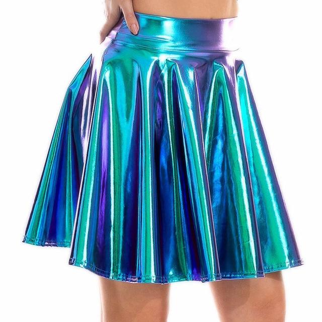 Summer Sexy Laser High Waist Mini PU Leather Skirt Club Party Dance Shiny Holographic Skirts Harajuku JK Metallic Pleated Skirts 1