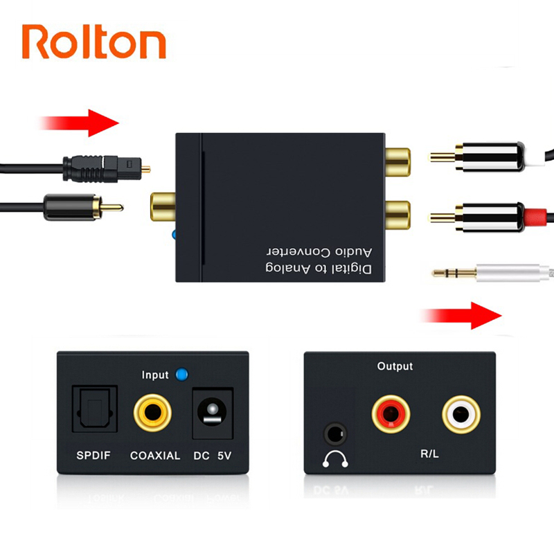 3.5mm Jack Audio Converter Coaxial Optical Fiber Toslink Digital To Analog L/R RCA SPDIF Digital Audio Decoder Stereo Amplifier