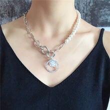 Массивное ожерелье цепочка серебристого цвета с пресноводным