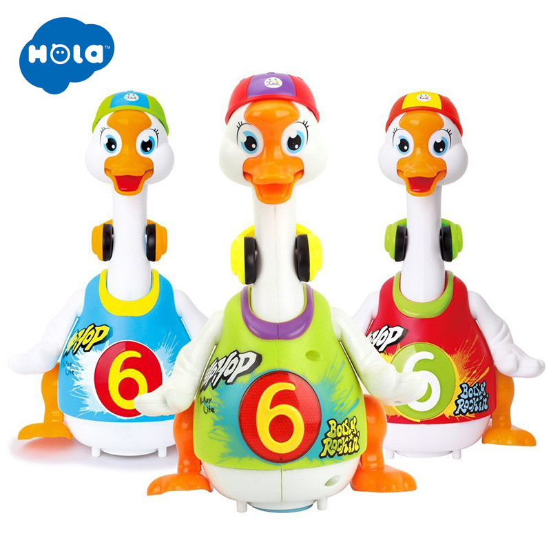 HOLA 828 Electronic Musical Toys for Toddlers 13-24 months Hip Hop Swing Goose Toy for Infant Dancing Duck Toys for Children Boy