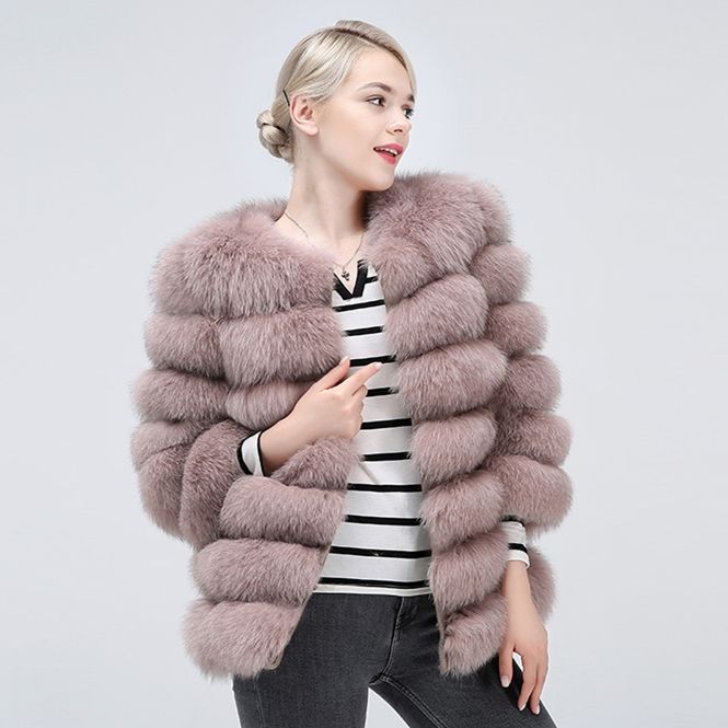 Natural Fox Fur Coat Women's Short   Winter Beautiful 100% Real Fox Fur  Genuine Leather Keep Warm Fashion