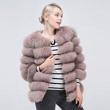 Naturale Pelliccia di Volpe Cappotto delle Donne di Inverno Breve Bella Outwear 100% Vera Pelliccia di Volpe del Cuoio Genuino Tenere In Caldo di Modo Della Maglia