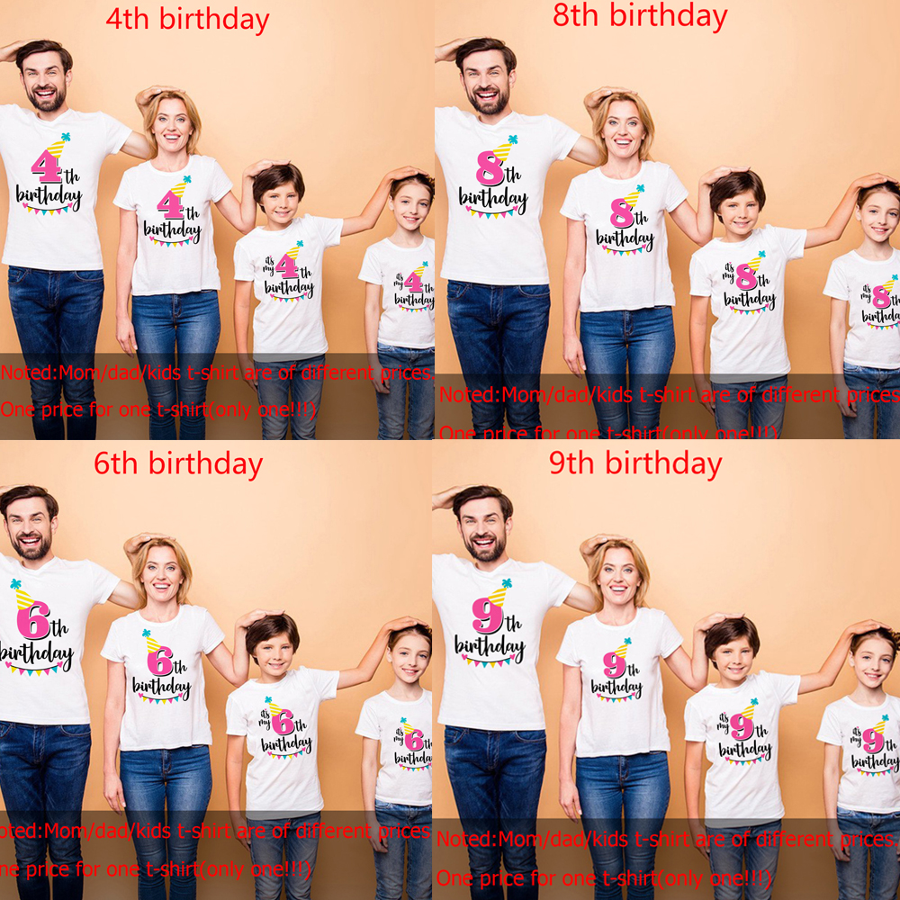 1pc 1 2 3 4 5 6 7 8 9 Birthday Tshirt Family Look Matching Tshirts Mom Dad Daughter Son Summer Short Sleeve Birthday Party Cloth