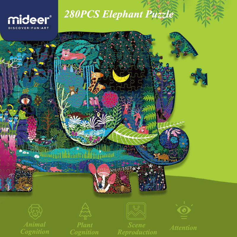Mideer 280PCS Puzzle Toys For Children Paper Educational Toys Kids Puzzle Animal Interactive Toys > 3 Years Old