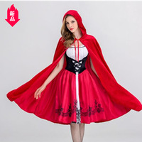 Cute sister European and American Halloween dress Adult cosplay dress Party Little Red Riding Hood shawl dress