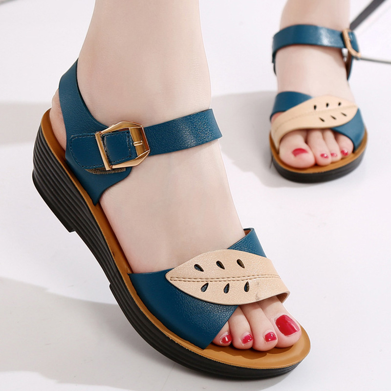 Spring Women Sandals Soft Bottom Women Shoes Slip-on Flat Sandals Buckle Ladies Shoes Comfort Mother Shoes Women Sandalias 41