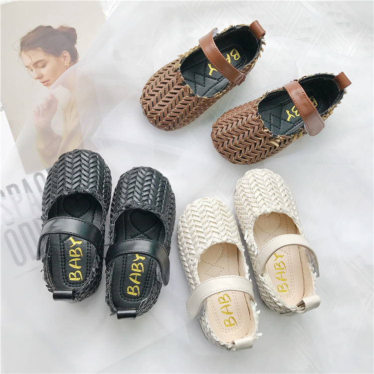 Girls Single Shoes Soft Soles Kids Girls Pu Leather Shoes  2019 New  2 Color Princess Casual Knitting Shoes For Children Baby
