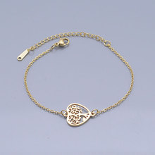 100% Stainless Steel Dainty Heart Tree of Life Charm Bracelet For Women Wholesale Amazing Quality Dropshipping