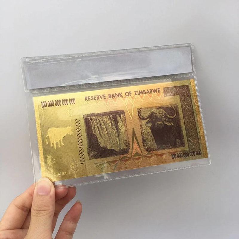 Zimbábue folha de ouro preto 100 trilhões de dólares comemorativos notas decorações para casa