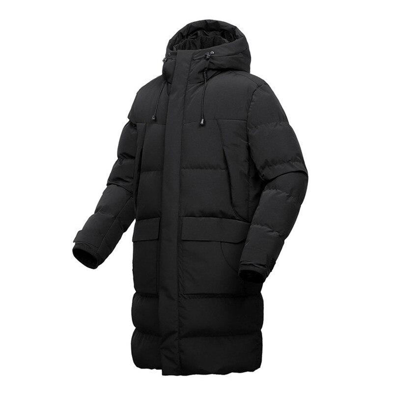 Новинка 2019, мужское хлопковое пальто, Мужская зимняя длинная толстая куртка с капюшоном, свободная повседневная Толстая черная куртка, боль... - 5