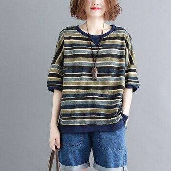 T camisa Tops polos Camiseta de algodón grandes y flojos de gran tamaño O cuello a rayas Retro de moda Vintage Casual para verano BO19181519