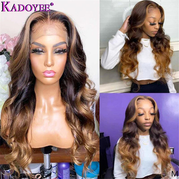 Brazilian Remy Hair Lace Front Human Hair Wigs Body Wave Ombre Blonde Highlight Lace Wig 13x6 Frontal Wig Deep Parting For Women