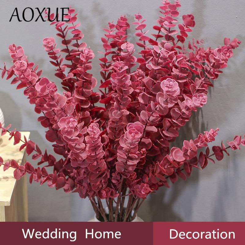80 см имитация эвкалипта мечты лист Свадебные декоративные растения стена с травой для дома гостиная сад Декоративные искусственные цветы