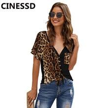 Cinessd camiseta feminina com gola v, sexy, estampa de oncinha, de bolso, mangas curtas, cardigan com botão, amarrado, irregular, de patchwork