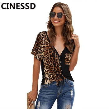 CINESSD Sexy V Neck Leopard Print Pocket Tshirt Women Tops Short Sleeves Cardigan Button Knotted Irregular Patchwork Tee Shirts slimming v neck color splicing patch pocket long sleeves cardigan for men