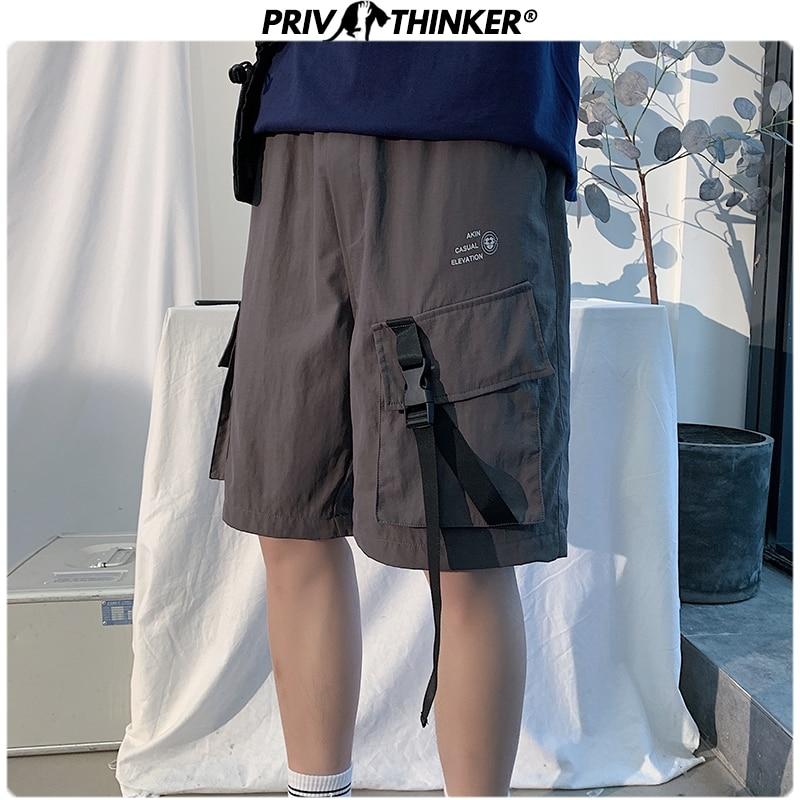 Privathinker 2020 Men Hip Hop Summer Cargo Shorts Men's Oversized Casual Shorts Male Fashions Korean Knee Length Shorts Oversize