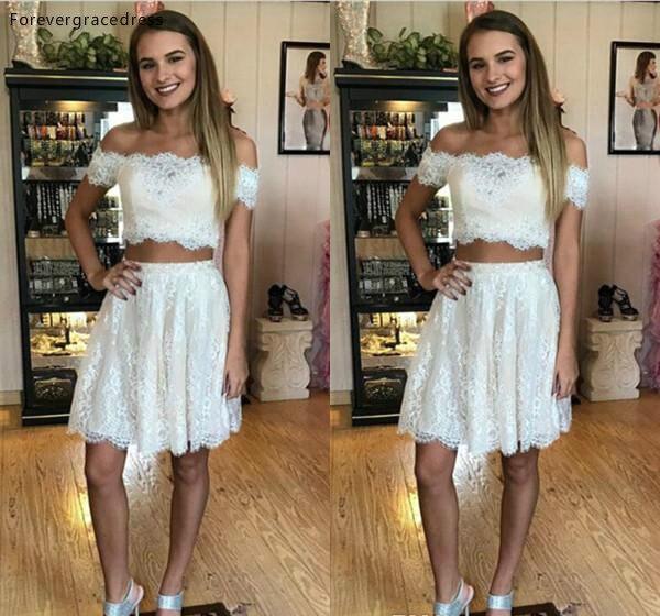 Cheap Delicate Two Pieces Lace Cocktail Dress Mini Short Juniors Sweet 15 Graduation Party Dress Plus Size