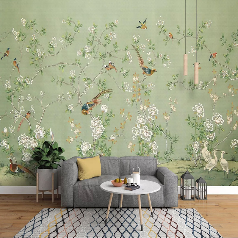 Custom 3D Photo Wallpaper Non-woven Hand Painted Oil Painting Pastoral Flower Bird Wall Mural Wallpapers For Living Room Bedroom