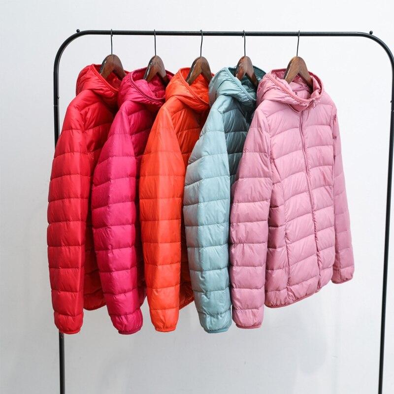 Thin Down Jacket Women 2020 Autumn Winter Slim Hooded Warm Slim Parkas Women Portable Outerwear Plus Size