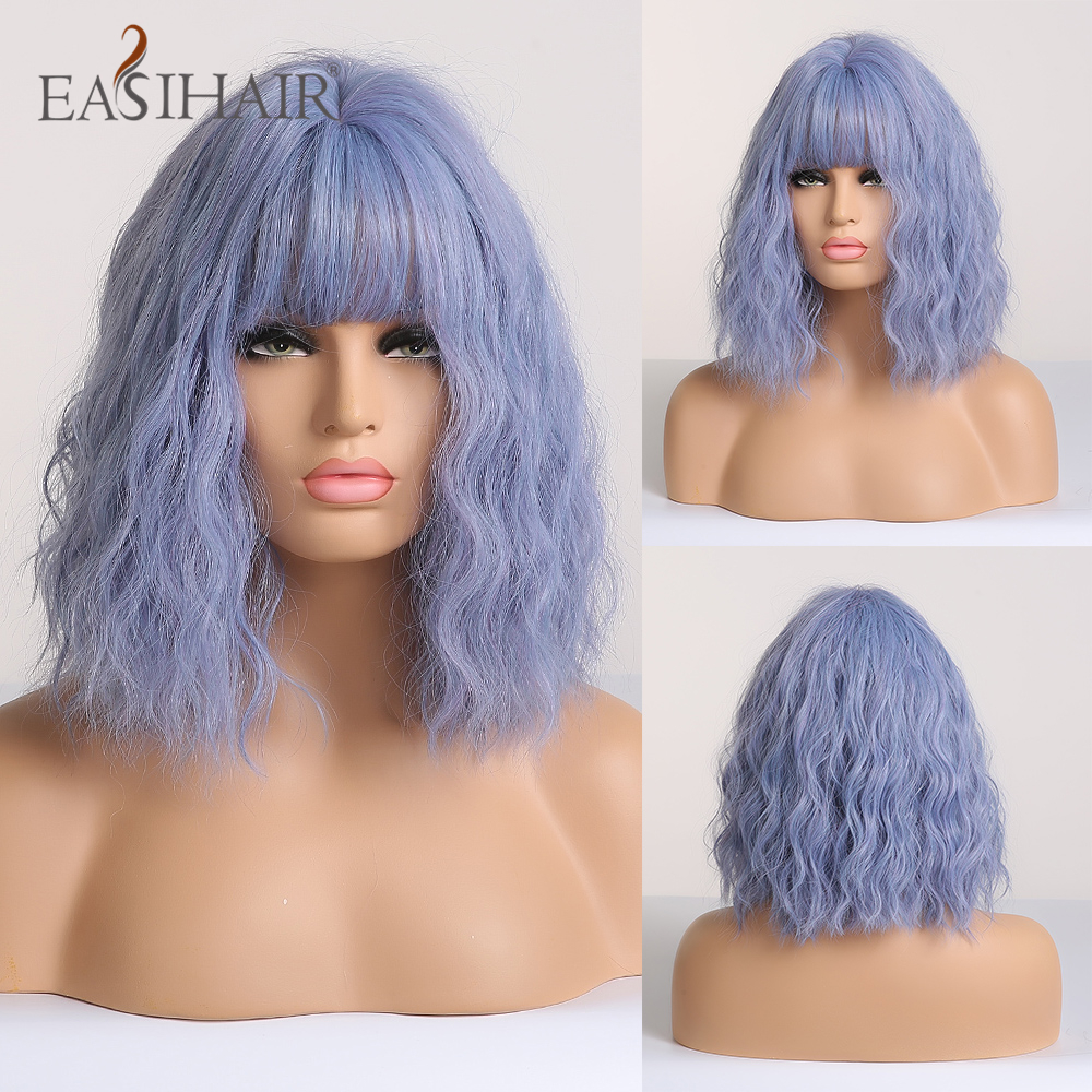 EASIHAIR Blue Wave Wigs With Bangs Synthetic Wigs For Women Cosplay Natural Wavy Wigs Medium Length Heat Resistant Hair Wigs