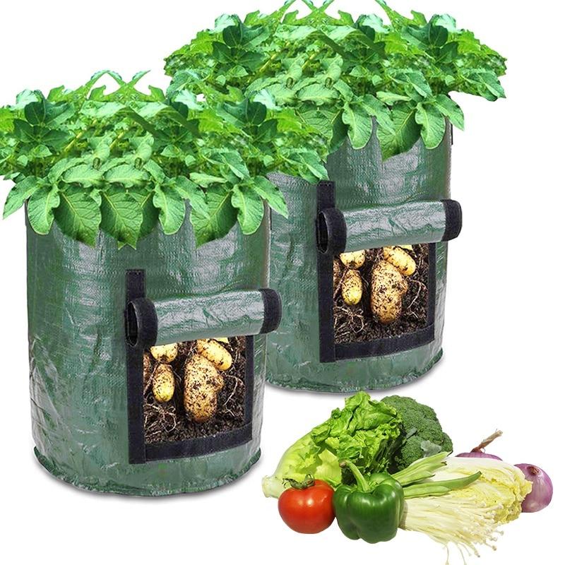 10 галлонов DIY выращивание картофеля сумки ящик для комнатных растений, из полиэтиленовой ткани мешок-контейнер для посадки растений огород...