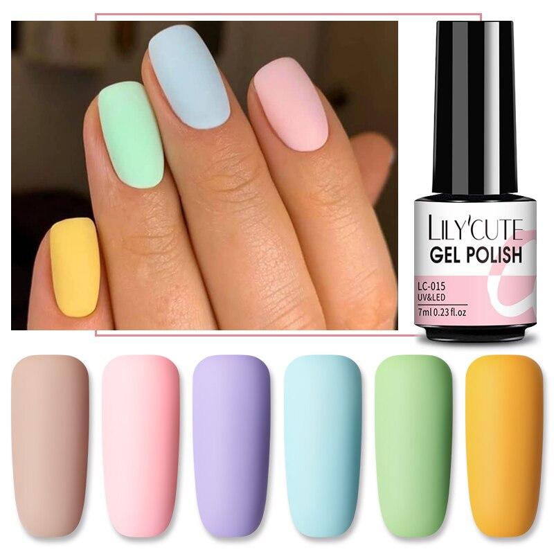 LILYCUTE матовый гель матовый лак для ногтей лаки для ногтей нужно 7 мл осень Цвет Гибридный Лаки био-Гели Soak Off УФ гель для ногтей дизайн Гель-лак