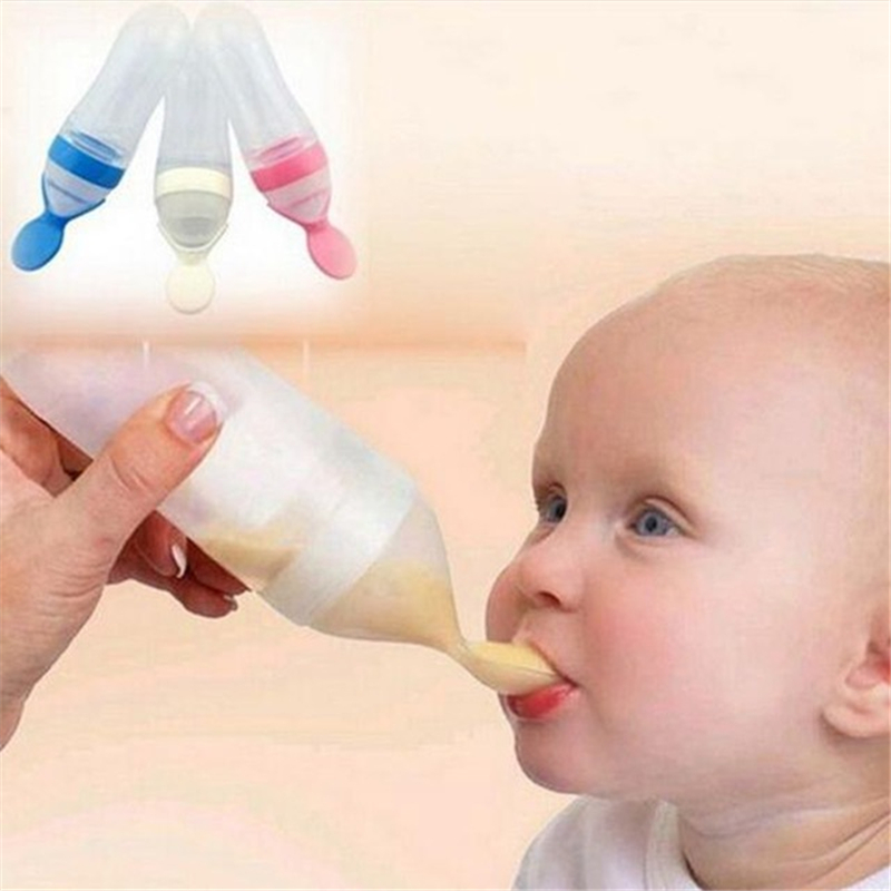 90ML Bottle With Spoon Feeder Feeding Safety Infant Baby Silicone Feeder Food Rice Cereal Bottle For Best Lovely Gift