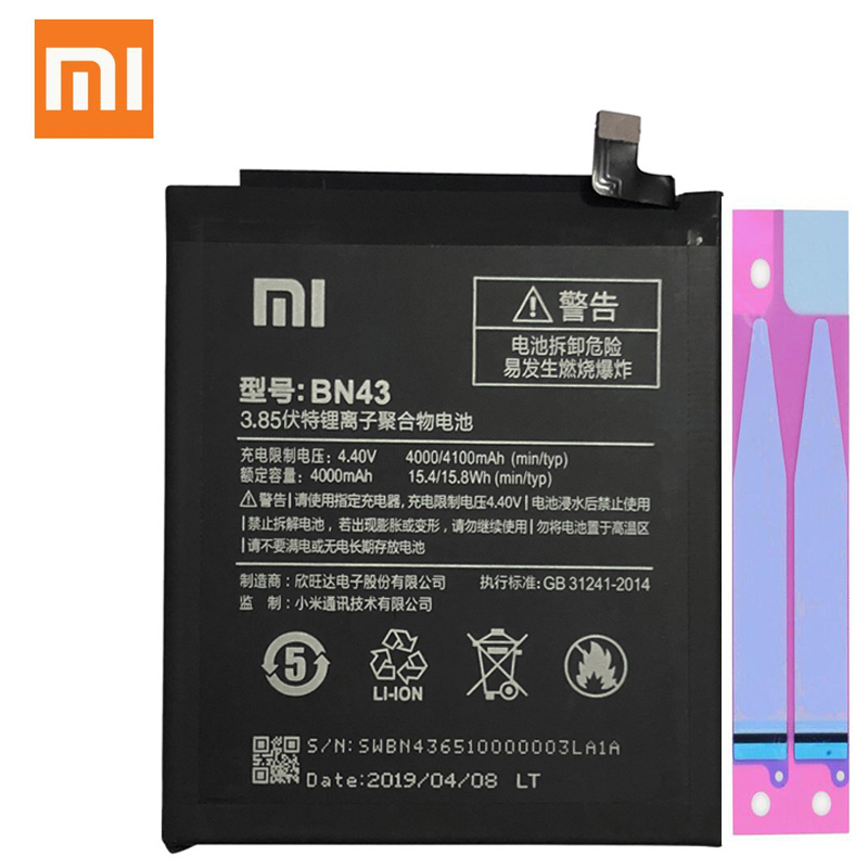 Xiao <font><b>Mi</b></font> BN43 Original Replacement Phone <font><b>Battery</b></font> 4000mAh For Xiaomi Redmi Note <font><b>4X</b></font> 4 X / Note 4 global Snapdragon 625 image