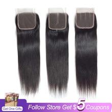 Малайзийские прямые кружевные накладные пряди, свободные/Средние/три части 4*4, 100% человеческие накладные пряди, перруке Cheveux Humain Non-Remy