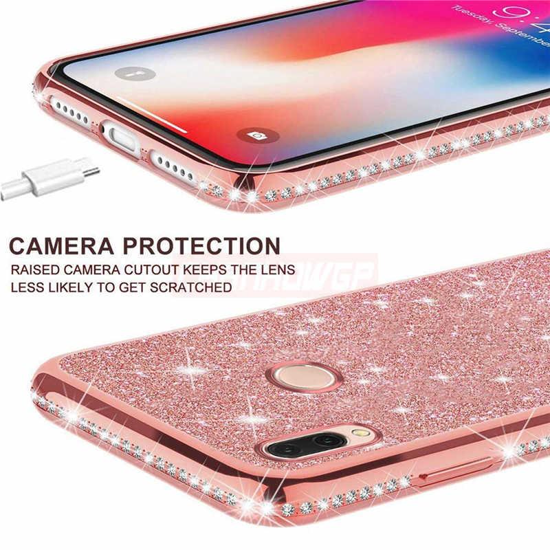 Capa de silicone de luxo com cristal, para xiaomi mi 9t 9 se 10 a3 a2 lite redmi k20 k30 pro 7a tampa amortecedora 8a 6a note 9 s 8t 7 8 pro