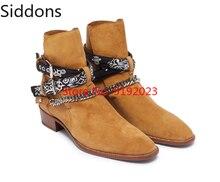 цена на Men's Ankle Chain Straps Boots Genuine Leather Iron Chains Harness Strap Ankle Boots Men Chelsea Boots  Zapatos De Hombre D310
