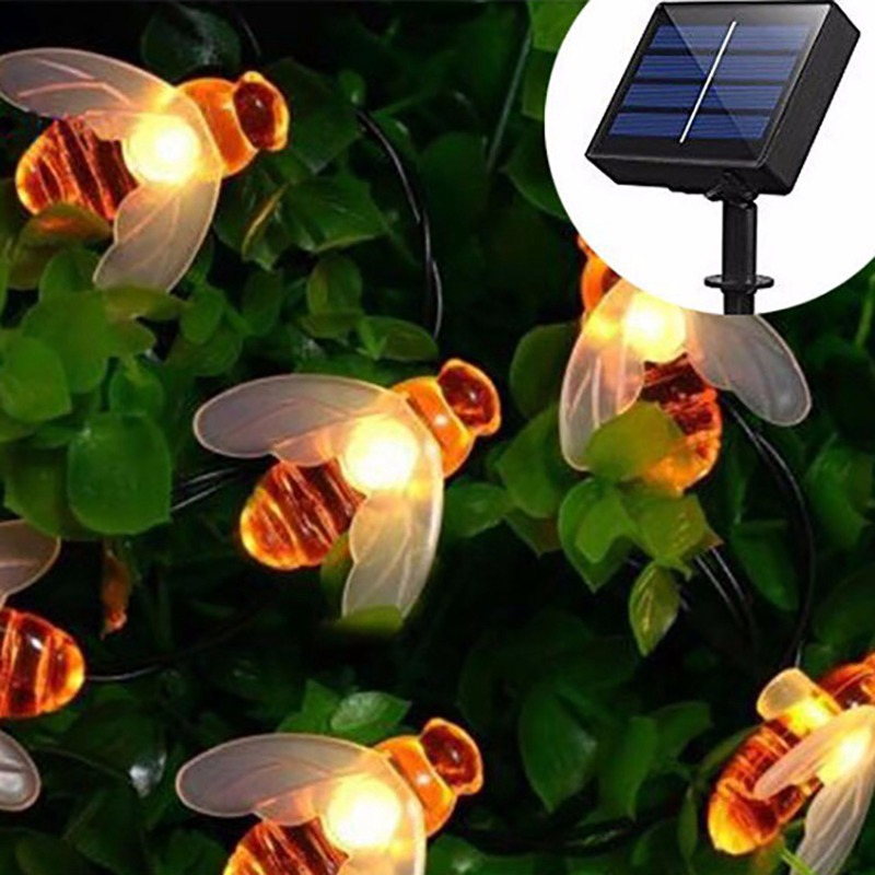 Bee Shaped 20/30 LED Solar String Lights Bumble Decorations Fairy Light Waterproof For Outdoor Garden Yard