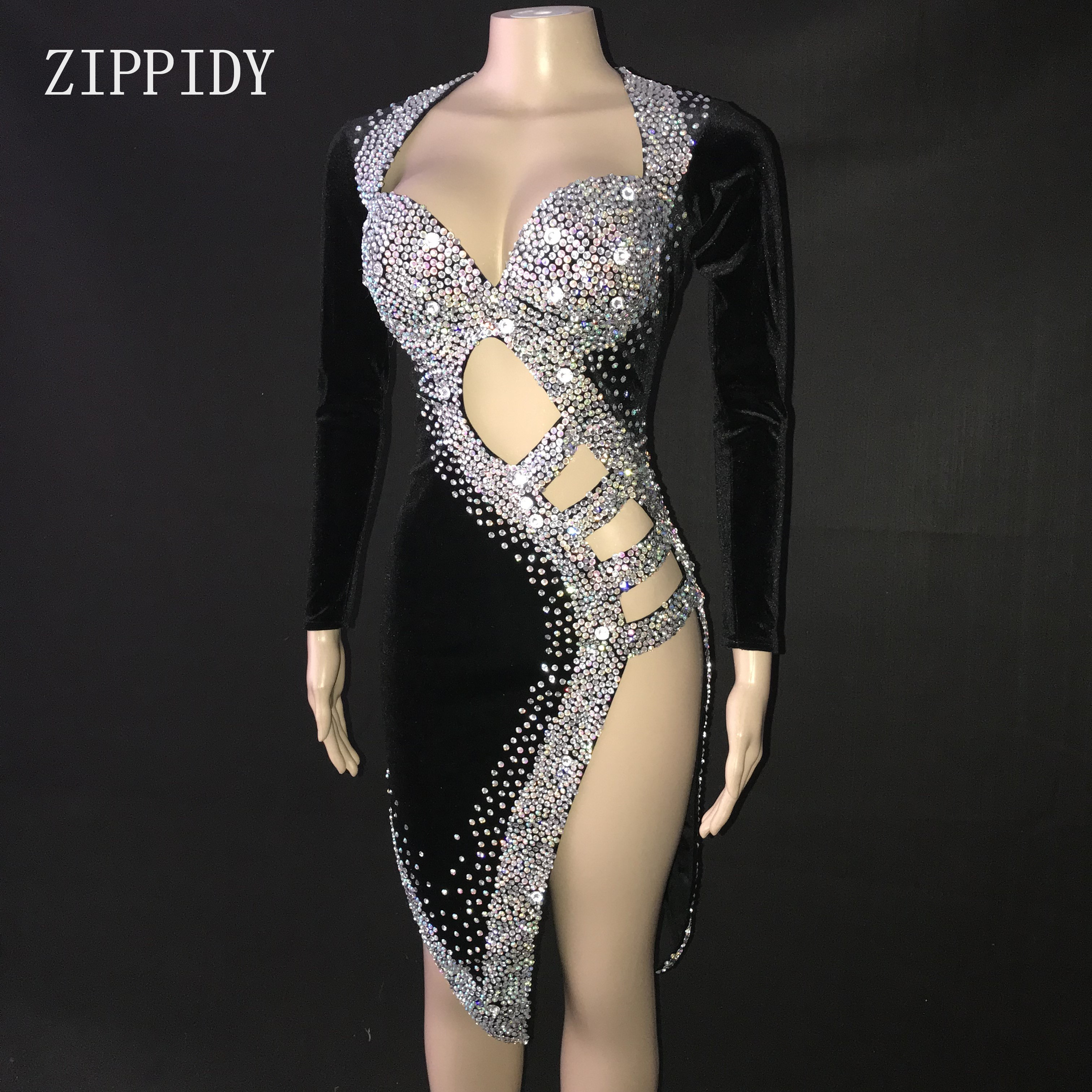 Sexy Silver Stones Black Latin Dance Dress Outfit  Stage Wear Sparkly Rhinestones Costume Birthday prom show Stretch Dress