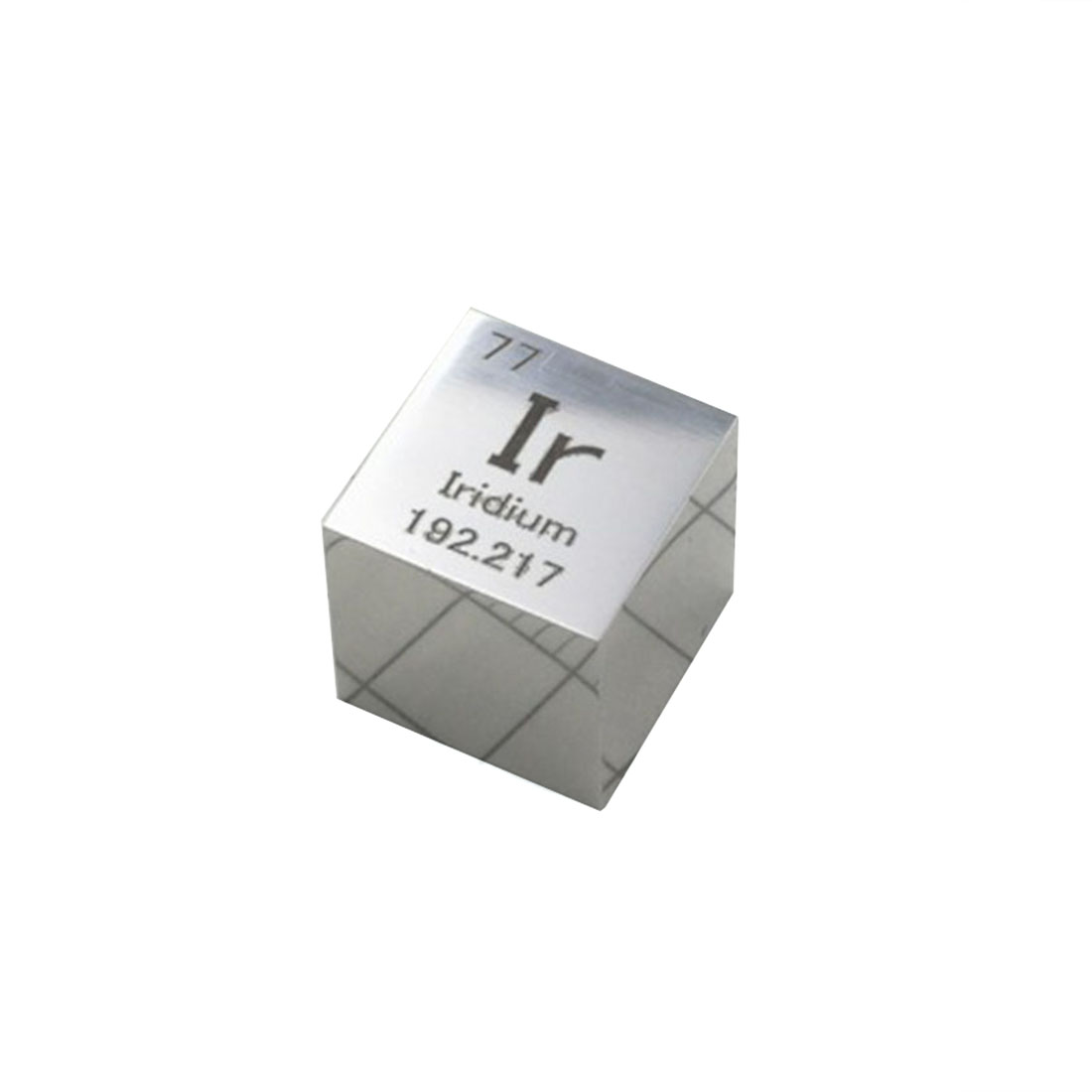 Super Quality Mirror Polished Double-Sided Engraved Metal Iridium Cube Periodic Table Of Elements Cube (Ir≥99.95%)