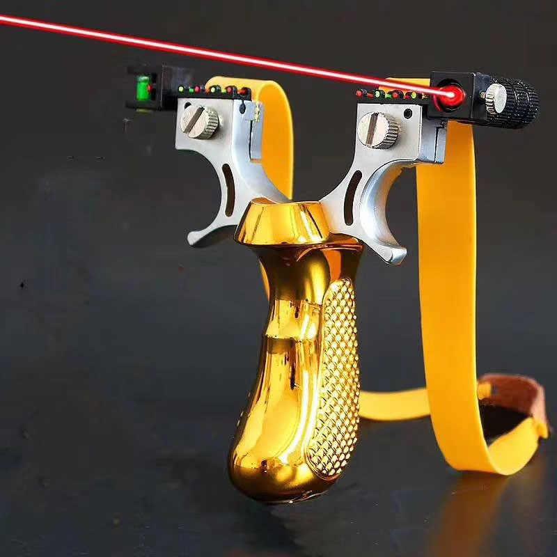 레이저 라이트 시력과 슬링 샷 플랫 고무 밴드와 야외 촬영 사냥 슬링 샷 강력한 슬링 샷