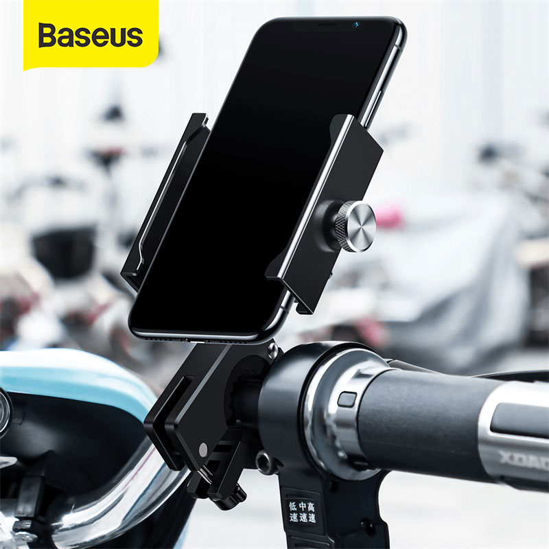 Baseus Bike Phone Holder For IPhone Xs Max Xr Mechanical Locking Motorcycle Bracket Adjustable Support GPS Bicycle Phone Stand