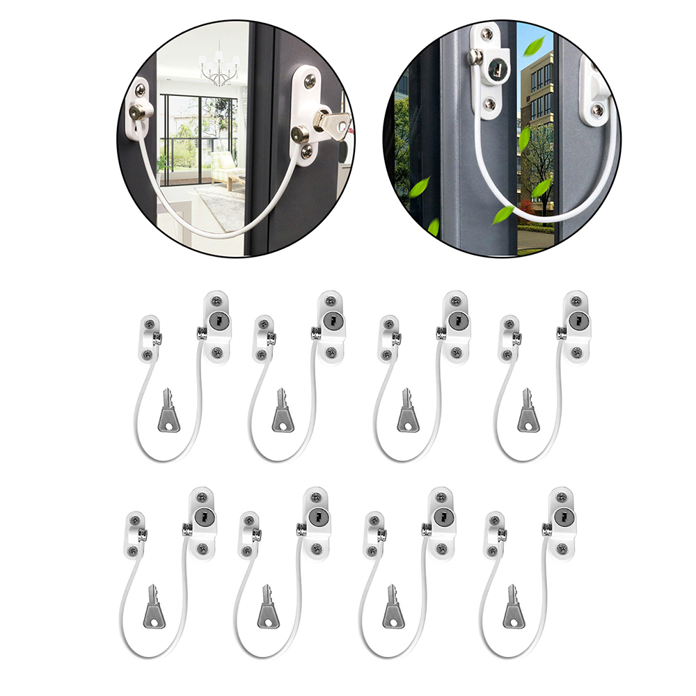 8Pcs/Set Window Locks Children Protection Lock Stainless Steel Window Limiter Baby Safety Infant Security Window Locks
