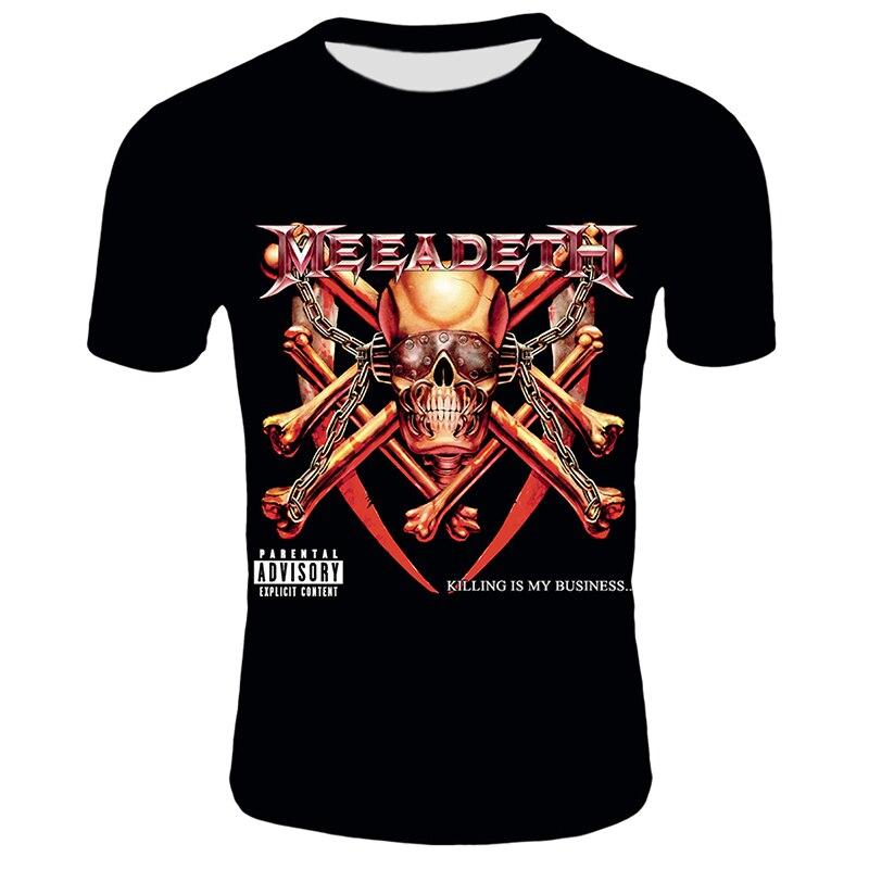 Hot 3D Megadeth Rock Tshirt Fashion Hip Hop Skull Printed T-Shirt Men Casual Short Sleeve Summer Street Letter Print Tops Tee