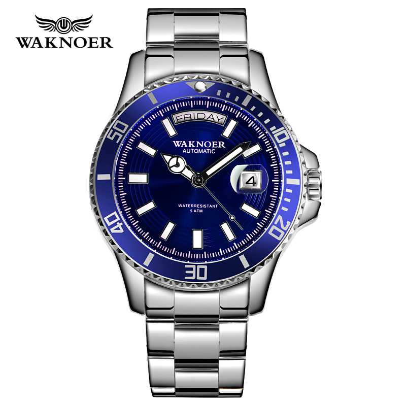 WAKNOER Automatic Watch Classic Design Men Stainless 5ATM Waterproof Luminous Calendar Auto Date Luxury Wristwatch  Montre Homme