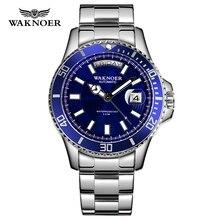 WAKNOER Automatic Watch Classic Design Men Stainless 5ATM Waterproof Luminous Ca